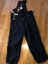 NEW POLARTEC BIB OVERALLS FLEECE SKI SNOW PANTS Military BLACK Medium Short/reg