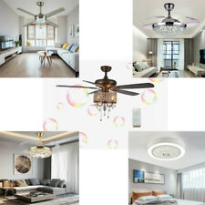 42'' Luxury Invisible Ceiling Fan Light Crystal Chandelier 3 Color Variation LED