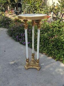 VTG. Brass Marble Pedestal Plant Fern Stand Table Victorian Art Nouveau L&L 1968