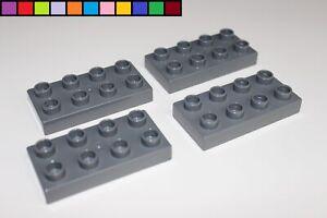 Lego Duplo - 4x kleine Platte - flacher Stein - 2 x 4 - 8 Noppen - dunkel-grau