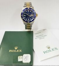 Mens 16613 Rolex Submariner Blue 18k Gold SS New Style Bracelet Watch w Papers