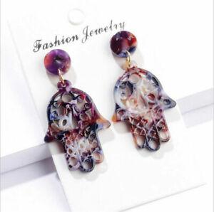 2019 Women Boho Acrylic Geometric Drop Dangle Statement Earrings Fashion Jewelry