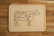 Personalized Engraved Chopping Cutting Board with Beef Butcher Cow Diagram