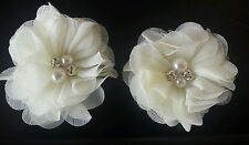 2 Girls small  cream ivory 2inch Hair Flower ...Voile  Hair Clip pearl  diamante
