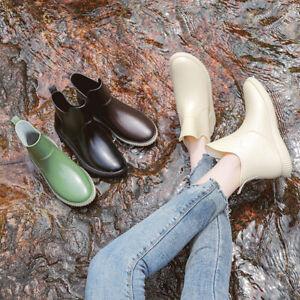 Women Ladies Waterproof Wellington Wellies Shoes Garden Non-Slip Flat Rain Boots
