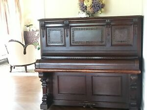 """Spectacular antique Horace Waters & Co """"Cabinet Grand"""" carved upright piano"""
