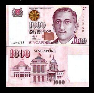 SINGAPORE 1000 1,000 DOLLAR P-51 1999-2018 AA 1st Prefix UNC MONEY New BANK NOTE