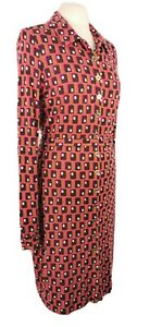 Boden Size 12 Retro Print Long Sleeve Button Front Dress Pink Purple Midi Belted