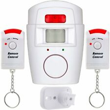 WIRELESS PIR MOTION SENSOR ALARM SHED HOME GARAGE CARAVAN 2 REMOTE CONTROLS