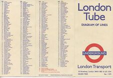 London Tube Underground subway metro rail lines map, 1979