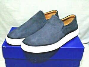 BROTHERS UNITED men's slip on navy blue leather low casual shoe size 11.5 M New