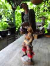 """Vintage Hand Carved and Painted Native American Totem Figure Wood Sculpture, 26"""""""