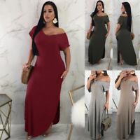 US Women's Strapless Maxi Dress Plus Size Tube Top Long Skirt Sundress Cover Up