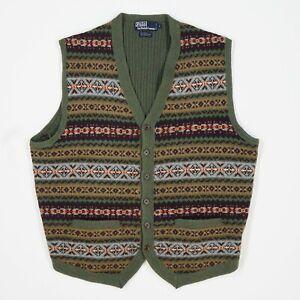 Polo Ralph Lauren (L) Fair Isle Wool/Camel/Alpaca Button Front Sweater Vest