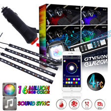 4x RGB Wireless APP Music Control 48 LED Strip Light Interior Atmosphere Kit 12V