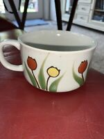 Vintage Speckled Stoneware Soup Mug with Yellow And Orange/Brown  Flowers