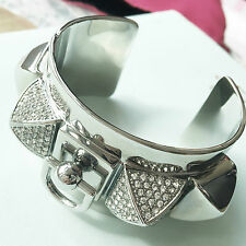 Juicy Couture Silver Pave Pyramid Studs Cuff Rhinestone Bracelet
