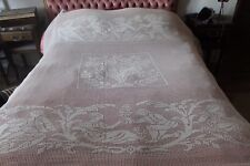 Fabulous antique French hand crocheted bed cover Cherubs, flowers, butterflies.