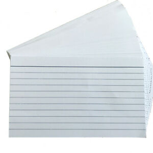 100 Lined Revision/Flash/Index Record Cards 127mm x 76mm Double Side Feint Ruled