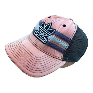 ADIDAS Embroidered Baseball Cap Hat Pink Grey Spellout Vintage Sport L XL