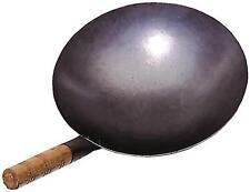 Wok Eisenpfanne Durchm. 30cm Runder Boden mit Holzgriff