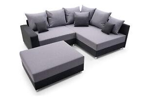 Ecksofa grau in dunkelgrau 225 x 185 cm mit Hocker Sofa L Form Couch mit Kissen