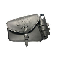 RXL 270A- Black Motorcycle Saddle Bag Black 100% Leather Saddle Bag Waterproof