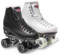 Sure-Grip Fame Vinyl Boot Roller Skates w/ Rock Plate & Bearings BLACK or WHITE