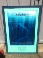 "1990 Harmony George Sumner Dolphin Marine Art Print Poster 40"" Wood Glass Frame"