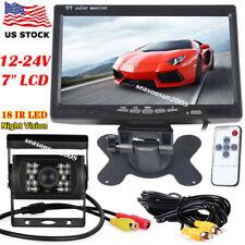 """12-24V Bus Truck IR Night Vision Backup Camera +7"""" Car TFT LCD Rear View Monitor"""