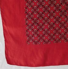 "Large vintage English scarf All Silk red 33"" square eo"