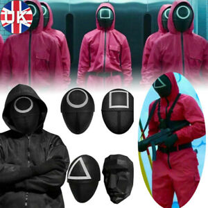 Squid Game Cosplay Costume Villain Red Jumpsuit Mask Halloween Party Horror UK
