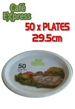 Bulk 50 x Cafe Express Disposable Plastic Oval Dinner Plates White Catering New
