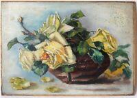 Tableau Peinture Ancienne Huile signé Deschavannes, Bouquet de Fleurs, Roses