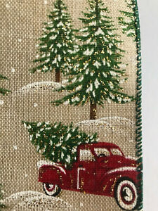 """Luxury Wired-Edged RIBBON Christmas Tree and Red Truck Extra Wide 6.3cm/2.5"""""""