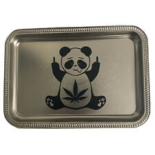 Metal Chrome Rolling Tray 420 Cannabis Weed Black Panda Medium 11x7.5