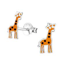 Sterling Silver 925 Novelty Epoxy Giraffe Zoo Stud Earrings