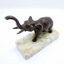 Metal Elephant Statue w Marble Base, Mid-Century Elephant Figurine Vintage!
