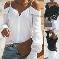 Women's Cold Shoulder V Neck Tops Summer Casual T-Shirt Loose Blouse Shirts