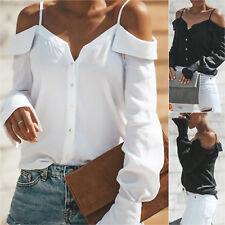 Sexy Damen Langarm Träger Hemd Bluse Schulterfrei Shirt Top Tunika Oberteil 42
