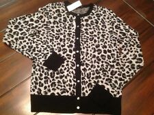 "Ann Taylor ""New Arrival"" Black & Grey Animal Print Cardigan, NWT,Small,Orig$89.5"