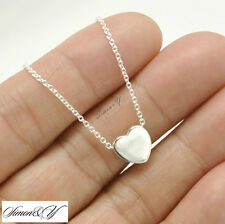 "Real Sterling Silver 925 Small Plain HEART Pendant Necklace 16""-18"" For Women's"