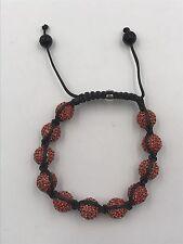10mm Shamballa Beaded Adjustable Bracelet Genuine Red Hand Set Crystals