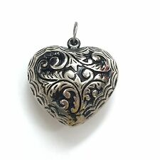 VINTAGE  LARGE HEART SHAPED SILVER  PENDANT WITH DESIGN