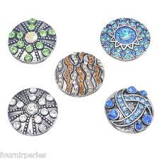 5 Mixte Bouton Pression Click Multicolore Strass Pr Bracelet Personnalisé 20mm