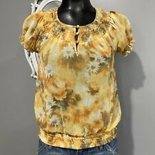 Small - AMERICAN RAG Daisy Floral Print Smocked Blouse Top