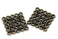 Bronze Tone Square Connector Jewellery Making Pendant 15x15mm-10 Pcs