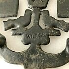 Wilton Black Cast Iron Trivet w Hearts Star Love Birds Brooms Footed Vintage 1