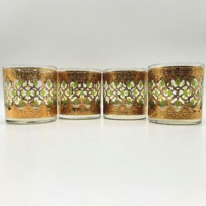 4 CULVER VALENCIA GLASSES VINTAGE 70's-80's OLD FASHIONED GOLD GREEN 8 oz