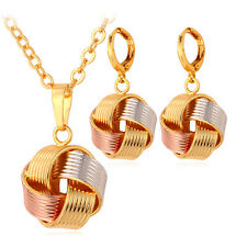 Sepak Takraw Ball Pendant Necklace Earrings 18K 3-Tone Gold Plated Jewelry Set